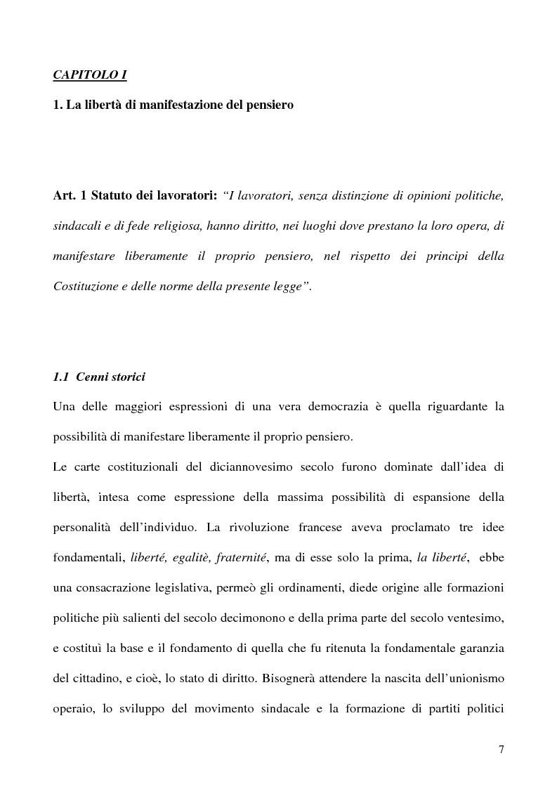Anteprima della tesi: Libertà di opinione del lavoratore, Pagina 4