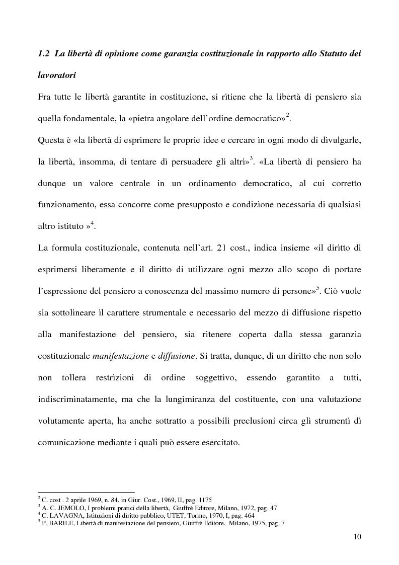 Anteprima della tesi: Libertà di opinione del lavoratore, Pagina 7