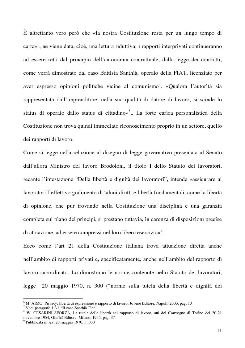 Anteprima della tesi: Libertà di opinione del lavoratore, Pagina 8