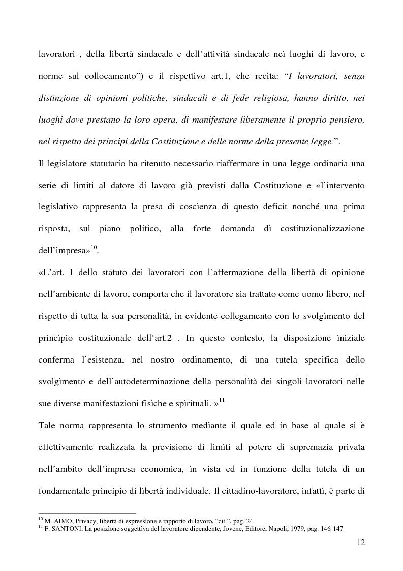 Anteprima della tesi: Libertà di opinione del lavoratore, Pagina 9