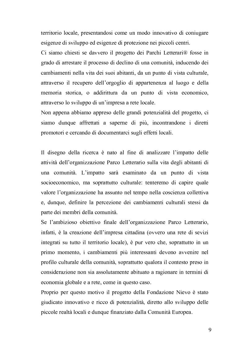 Anteprima della tesi: Derive socioeconomiche e culturali dell'istituzione di un Parco Letterario in una comunità. Il caso di Valsinni., Pagina 2