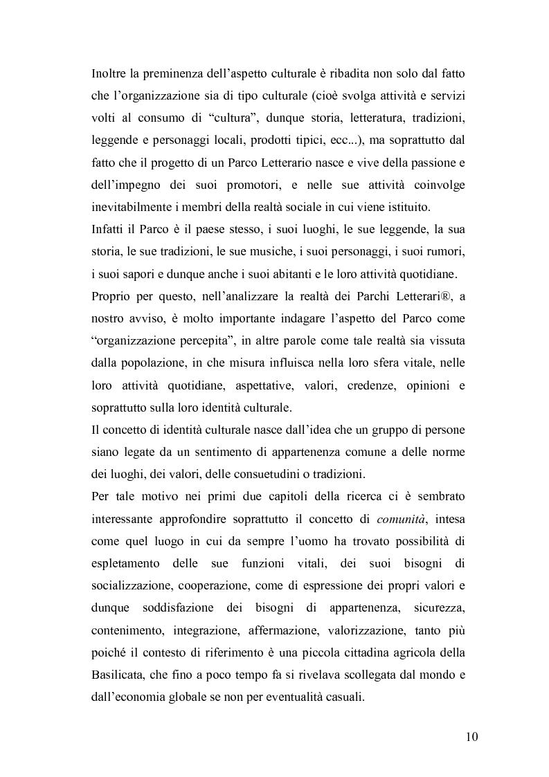 Anteprima della tesi: Derive socioeconomiche e culturali dell'istituzione di un Parco Letterario in una comunità. Il caso di Valsinni., Pagina 3