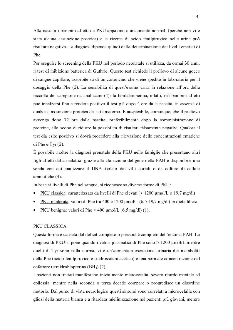 Anteprima della tesi: Il ruolo della dietista nel trattamento della fenilchetonuria, Pagina 4