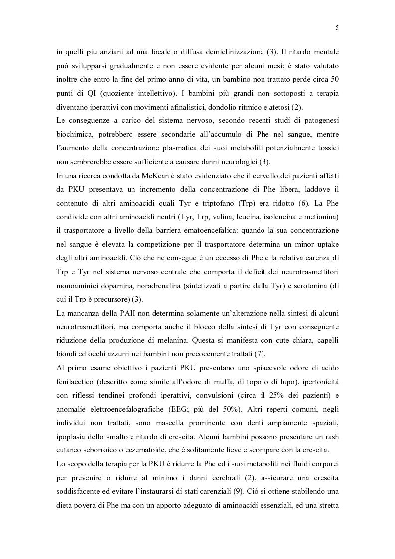 Anteprima della tesi: Il ruolo della dietista nel trattamento della fenilchetonuria, Pagina 5