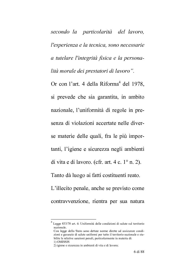 Anteprima della tesi: Delle compentenze della P.A. nella estinzione dei reati contravenzionali in materia di violazione delle norme di igiene e sicurezza del lavoro, Pagina 5