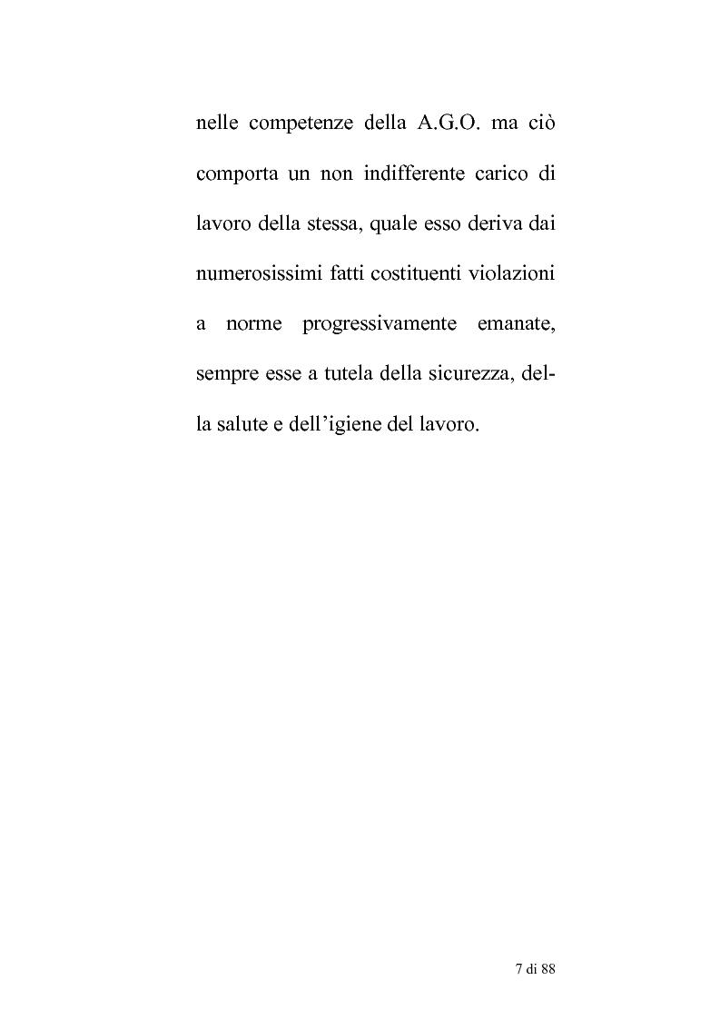 Anteprima della tesi: Delle compentenze della P.A. nella estinzione dei reati contravenzionali in materia di violazione delle norme di igiene e sicurezza del lavoro, Pagina 6