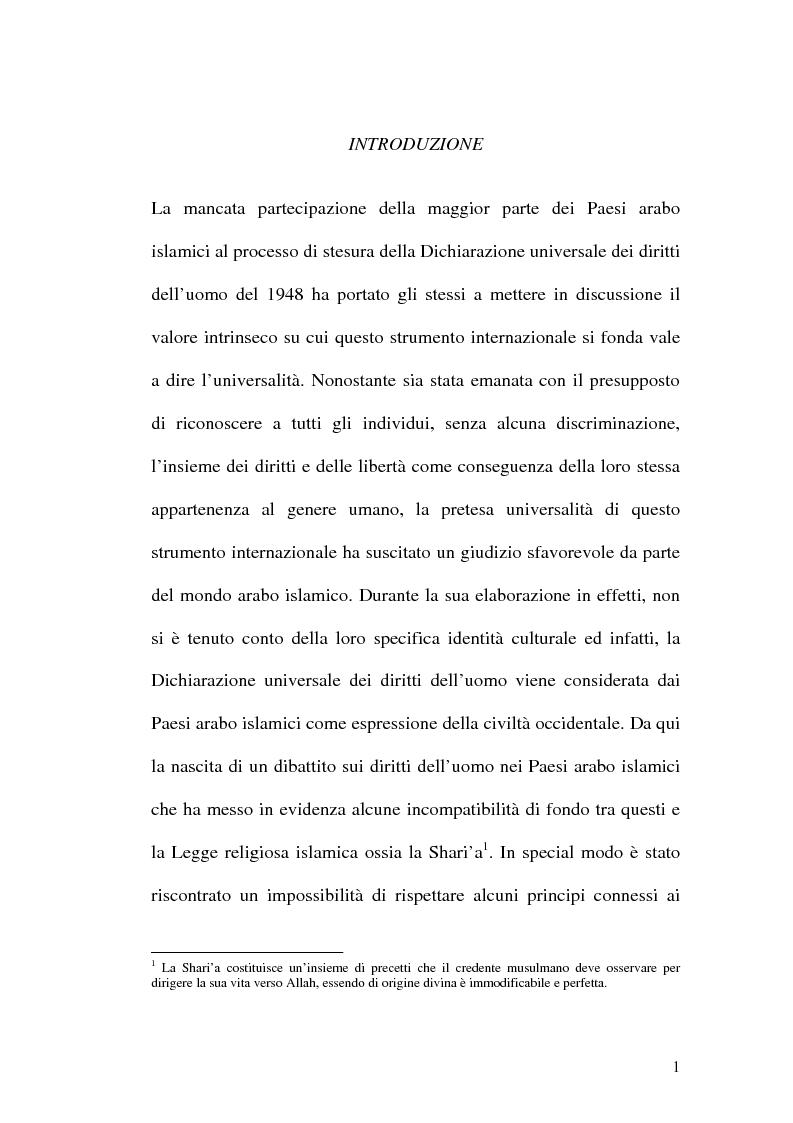Anteprima della tesi: I diritti dell'uomo nei paesi arabo islamici, Pagina 1