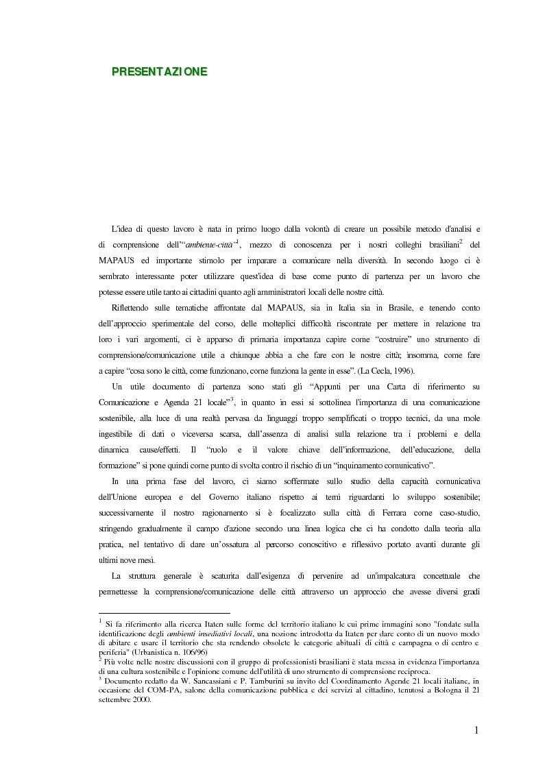Anteprima della tesi: Comunicazione ed integrazione delle politiche per l'attuazione della sostenibilità., Pagina 1