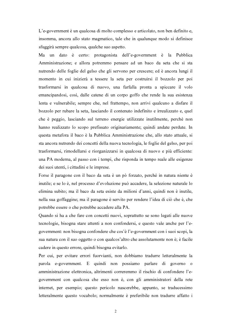 Anteprima della tesi: Politiche comunitarie, statali e regionali in tema di e-government, Pagina 2