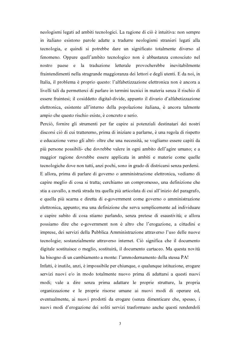 Anteprima della tesi: Politiche comunitarie, statali e regionali in tema di e-government, Pagina 3