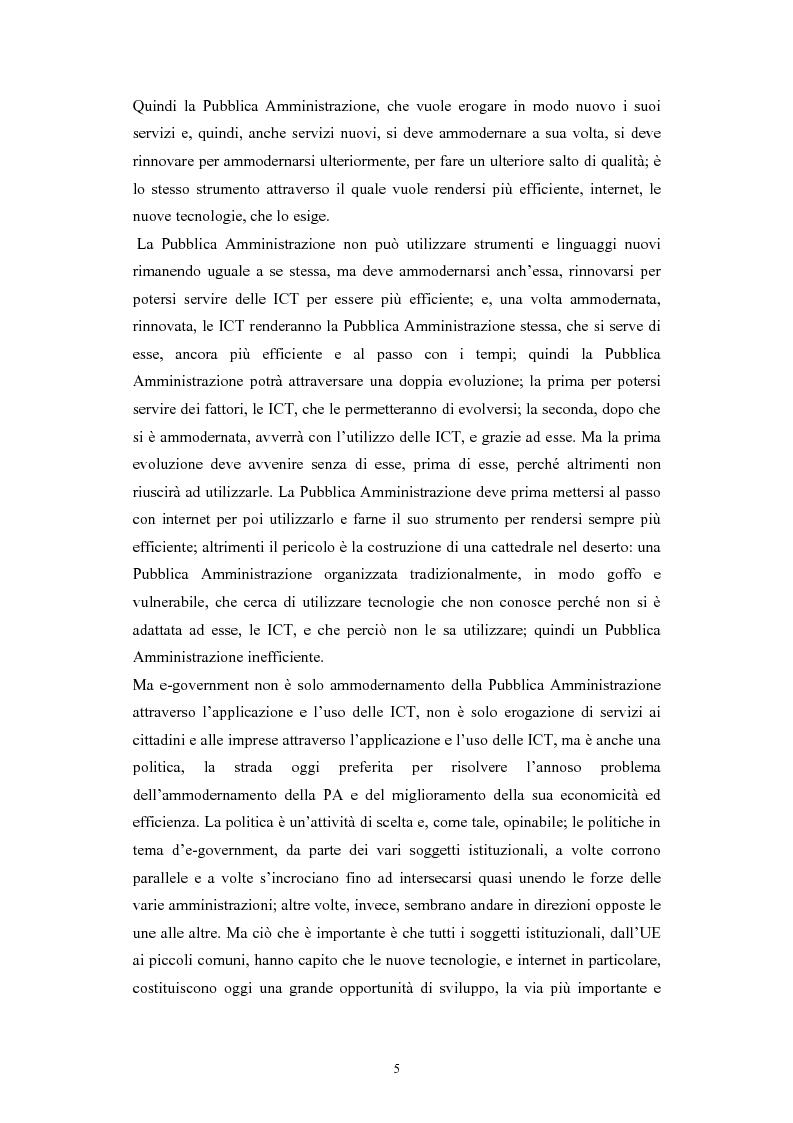 Anteprima della tesi: Politiche comunitarie, statali e regionali in tema di e-government, Pagina 5