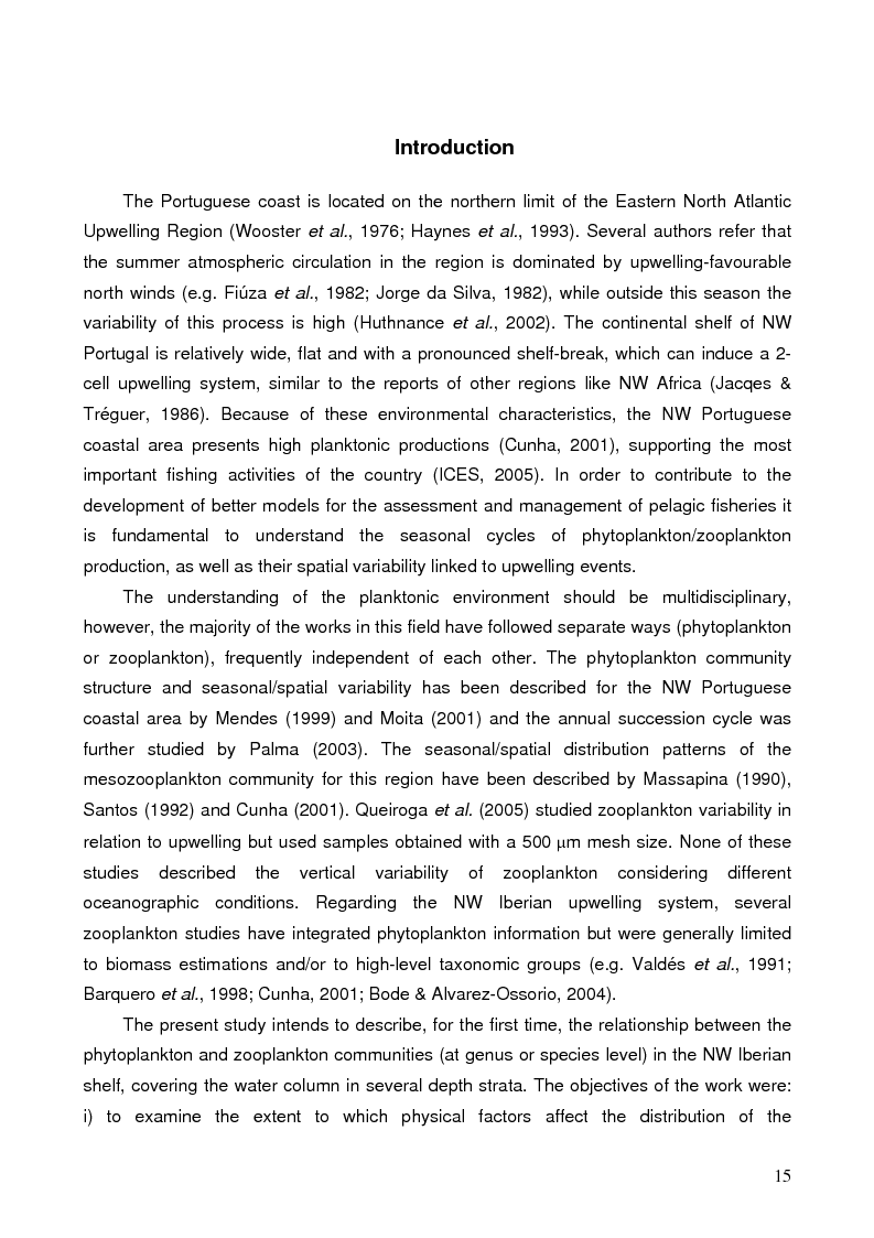 Anteprima della tesi: Dynamics of Phytoplankton and Zooplankton Communities on the Continental Shelf of Northern Portugal, Pagina 4