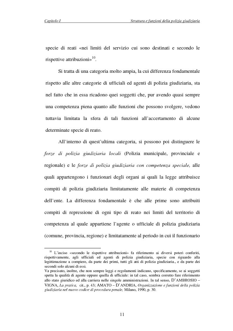 Anteprima della tesi: L'attività di indagine su iniziativa della polizia giudiziaria: profili giuridi e questioni pratiche, Pagina 11