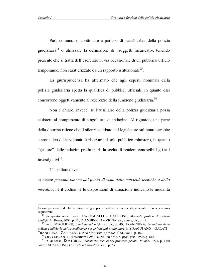 Anteprima della tesi: L'attività di indagine su iniziativa della polizia giudiziaria: profili giuridi e questioni pratiche, Pagina 14
