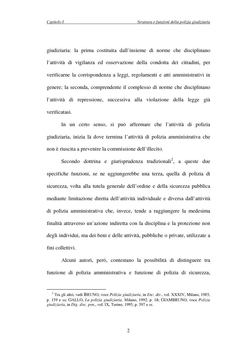 Anteprima della tesi: L'attività di indagine su iniziativa della polizia giudiziaria: profili giuridi e questioni pratiche, Pagina 2