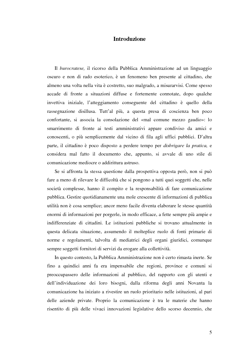 Anteprima della tesi: Questione di stile. Scrivere per capire e farsi capire all'interno della Pubblica Amministrazione, Pagina 1