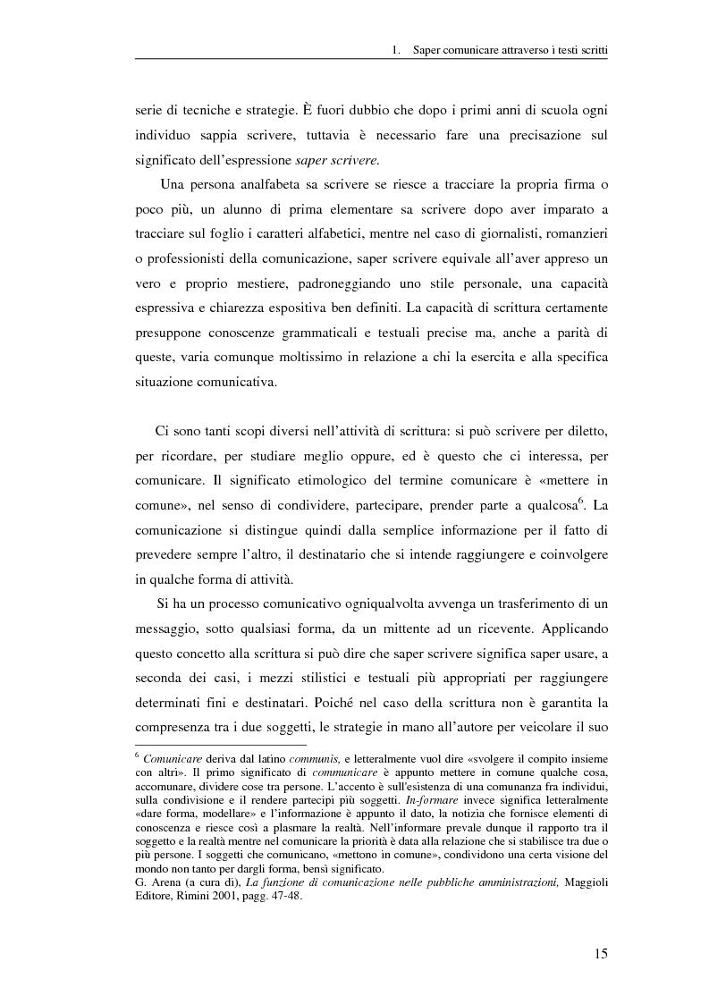 Anteprima della tesi: Questione di stile. Scrivere per capire e farsi capire all'interno della Pubblica Amministrazione, Pagina 11