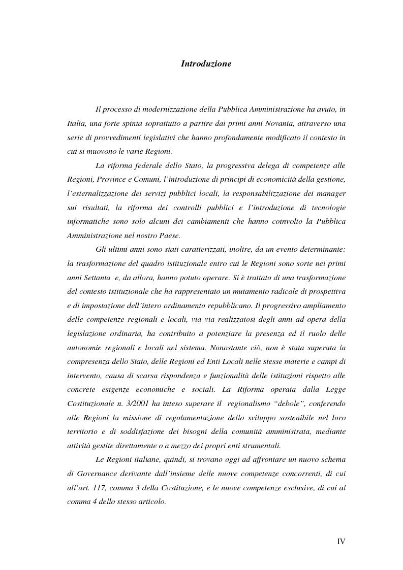 Anteprima della tesi: Logiche di governance nelle Amministrazioni Regionali: Basilicata e Lombardia a confronto, Pagina 1