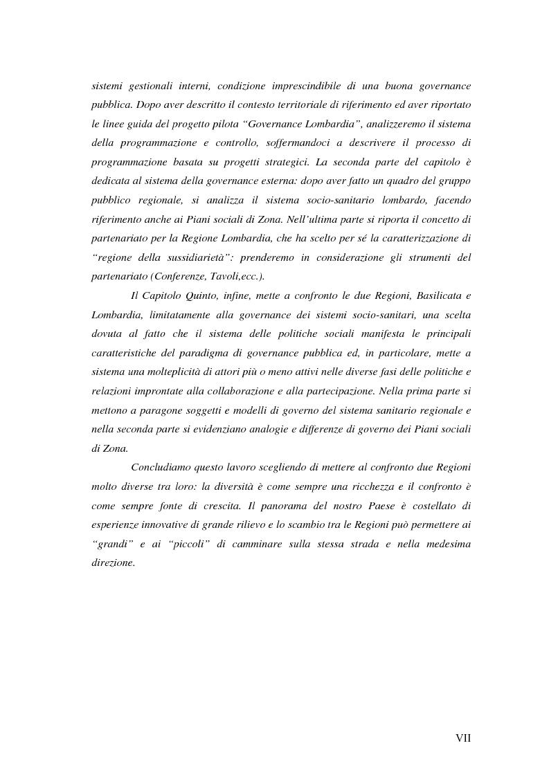 Anteprima della tesi: Logiche di governance nelle Amministrazioni Regionali: Basilicata e Lombardia a confronto, Pagina 4