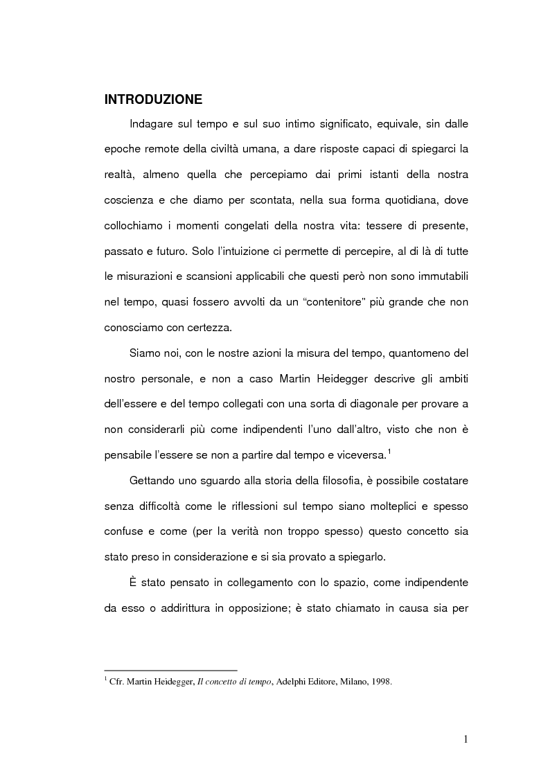 Anteprima della tesi: Il Concetto di tempo nella Teoria della Relatività di Einstein e le sue conseguenze filosofiche, Pagina 1