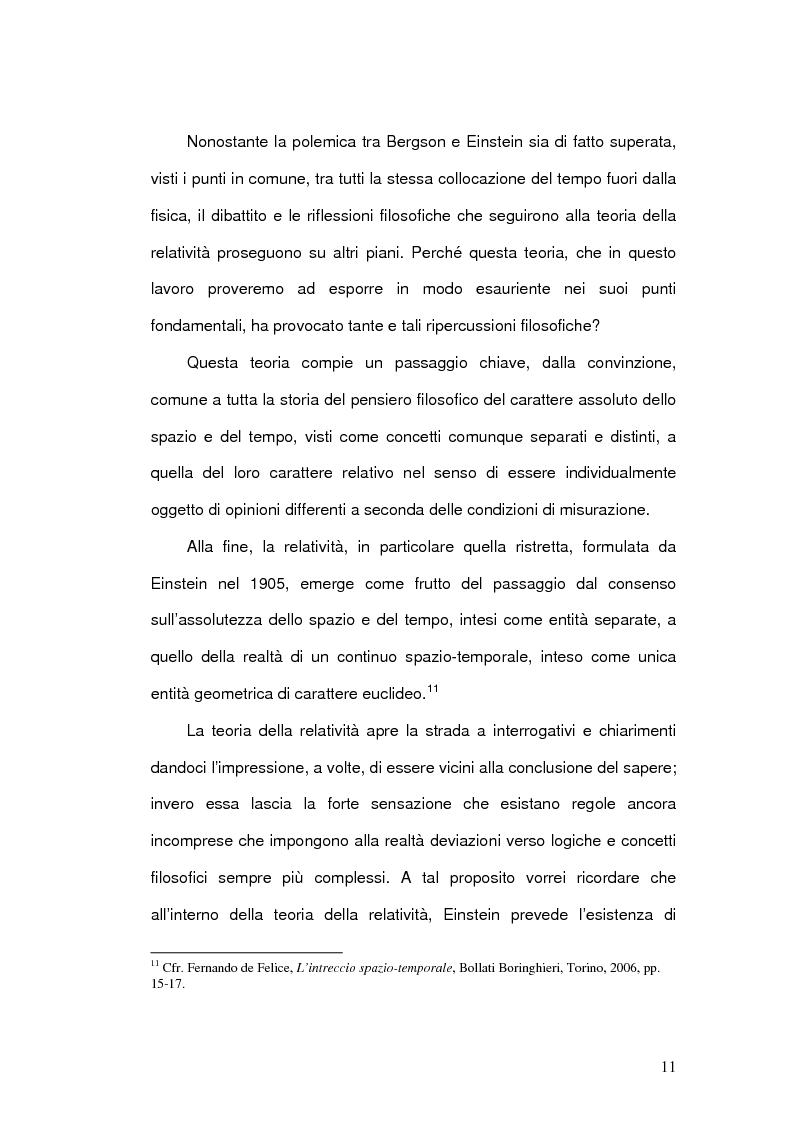 Anteprima della tesi: Il Concetto di tempo nella Teoria della Relatività di Einstein e le sue conseguenze filosofiche, Pagina 11