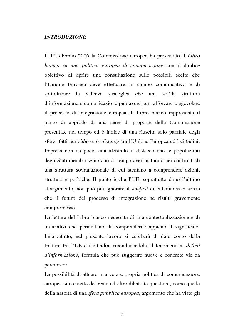 Anteprima della tesi: La comunicazione istituzionale dell'Unione Europea, Pagina 1