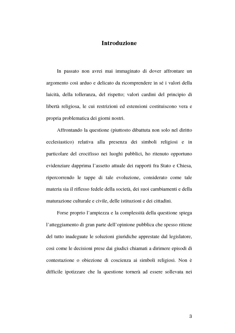 Anteprima della tesi: Simboli religiosi: esposizione del crocifisso alla luce della recente giurisprudenza, Pagina 1