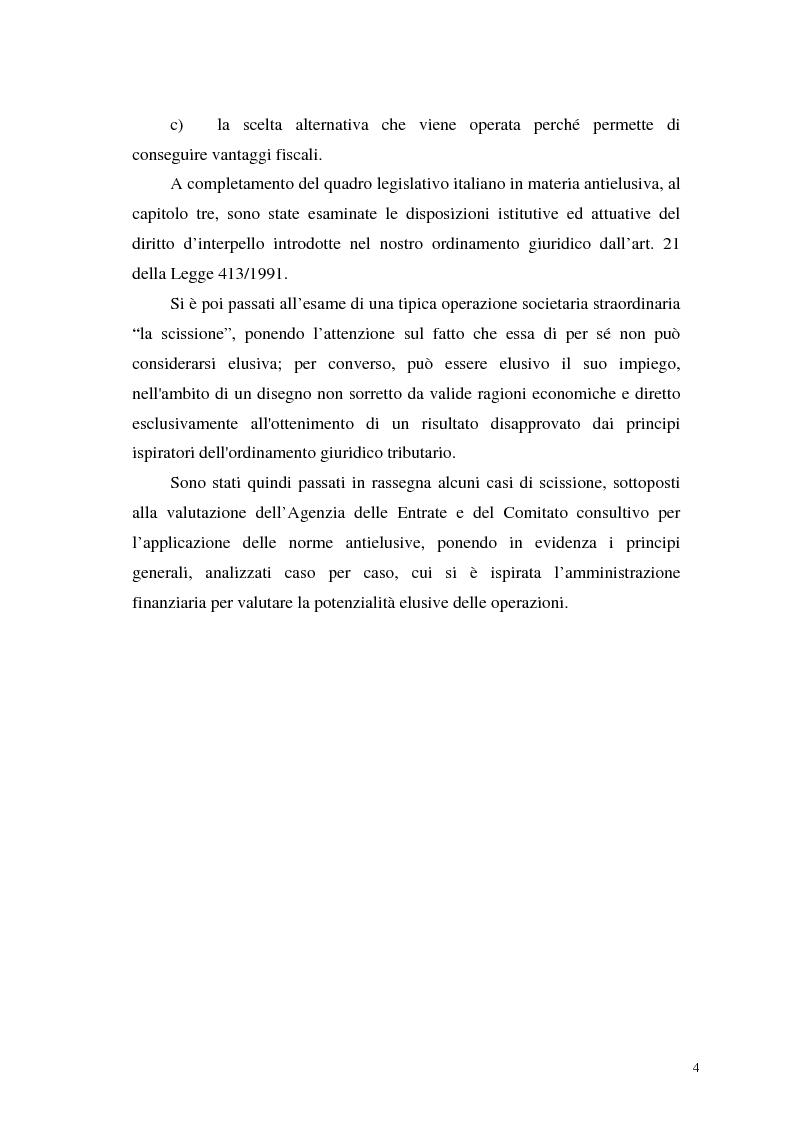 Anteprima della tesi: La normativa tributaria antielusione (art. 37 - bis D.P.R. 600/1973) con particolare riferimento alla scissione di società, Pagina 2