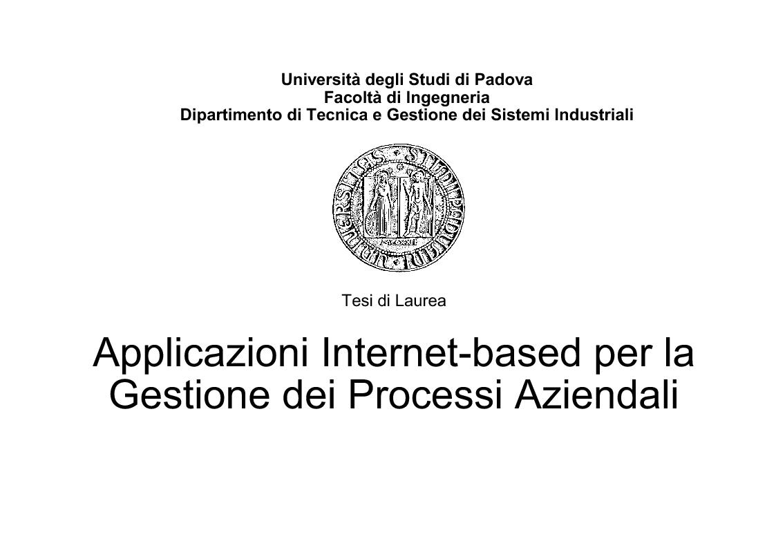 Anteprima della tesi: Applicazioni Internet-based per la gestione dei processi aziendali, Pagina 1
