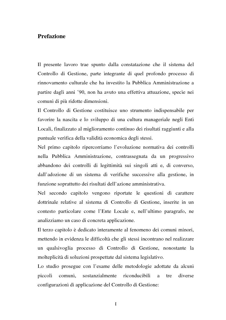 Anteprima della tesi: Il Controllo di Gestione negli Enti Locali minori, Pagina 1