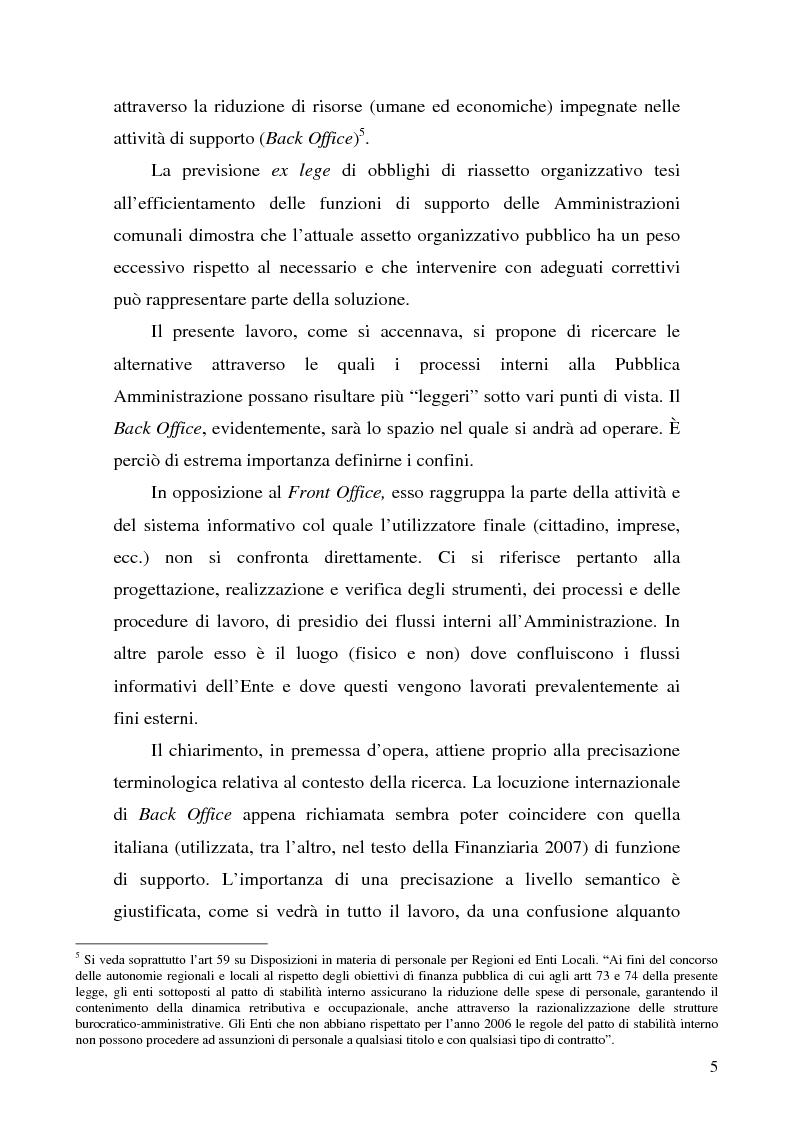 Anteprima della tesi: Analisi di impatto dell'efficientamento del Back Office sui costi delle Pubbliche Amministrazioni.Il caso delle Amministrazioni Comunali, Pagina 2