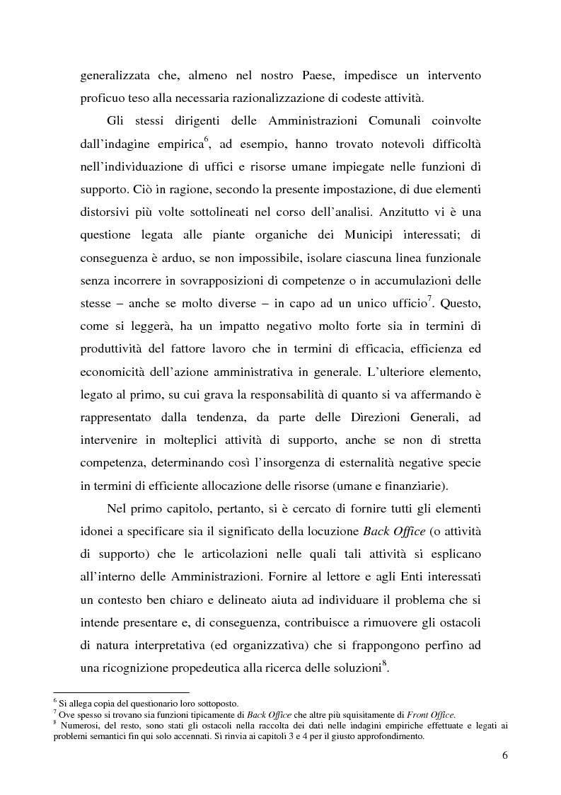 Anteprima della tesi: Analisi di impatto dell'efficientamento del Back Office sui costi delle Pubbliche Amministrazioni.Il caso delle Amministrazioni Comunali, Pagina 3