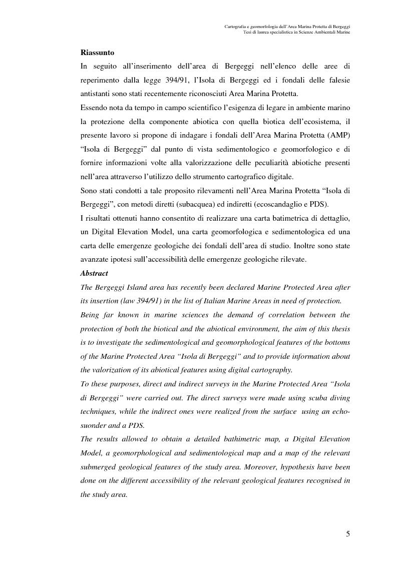 Anteprima della tesi: Cartografia e geomorfologia dei fondali dell'Area Marina Protetta di Bergeggi (SV)., Pagina 1