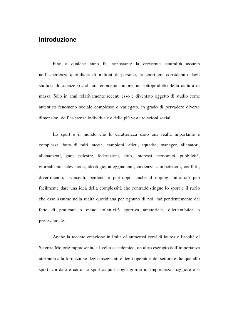 Anteprima della tesi: L'incidenza delle dinamiche di gruppo nei fattori determinanti la prestazione sportiva, Pagina 1