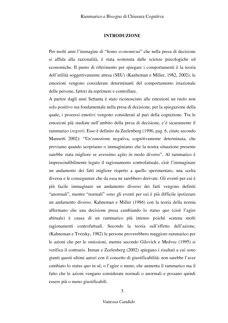 Anteprima della tesi: Rammarico e Bisogno di chiusura cognitiva, Pagina 1