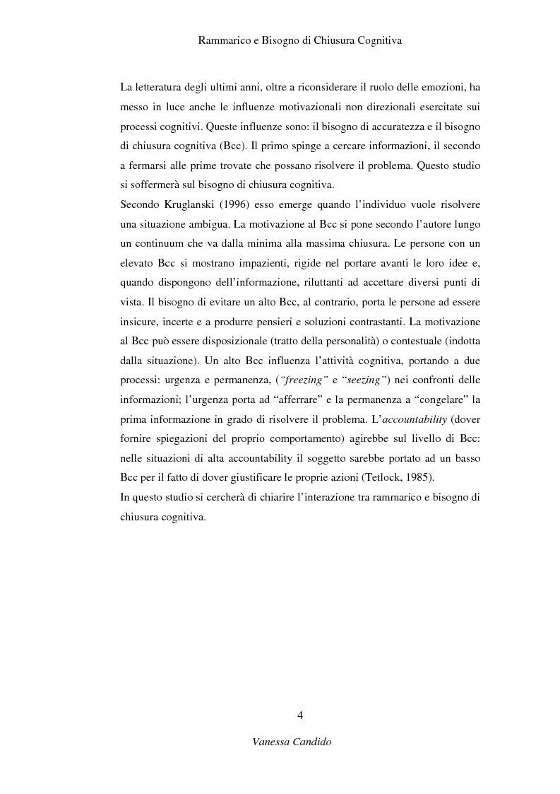 Anteprima della tesi: Rammarico e Bisogno di chiusura cognitiva, Pagina 2