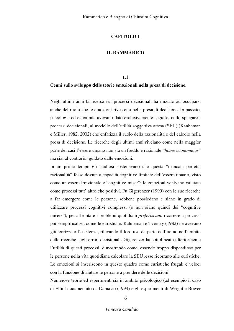 Anteprima della tesi: Rammarico e Bisogno di chiusura cognitiva, Pagina 4