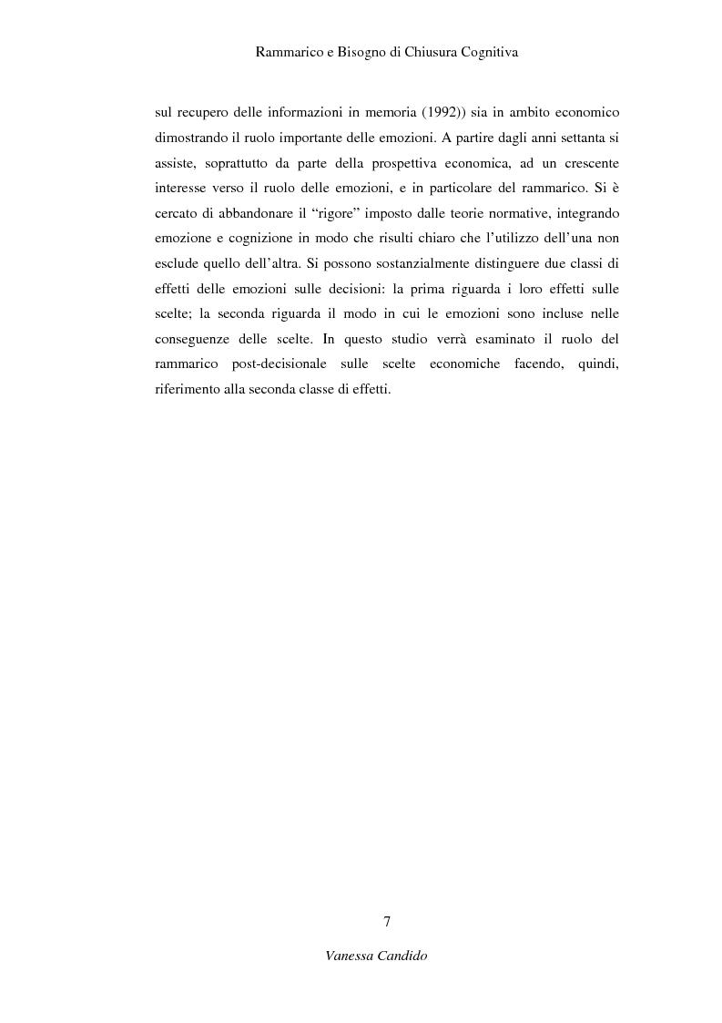 Anteprima della tesi: Rammarico e Bisogno di chiusura cognitiva, Pagina 5