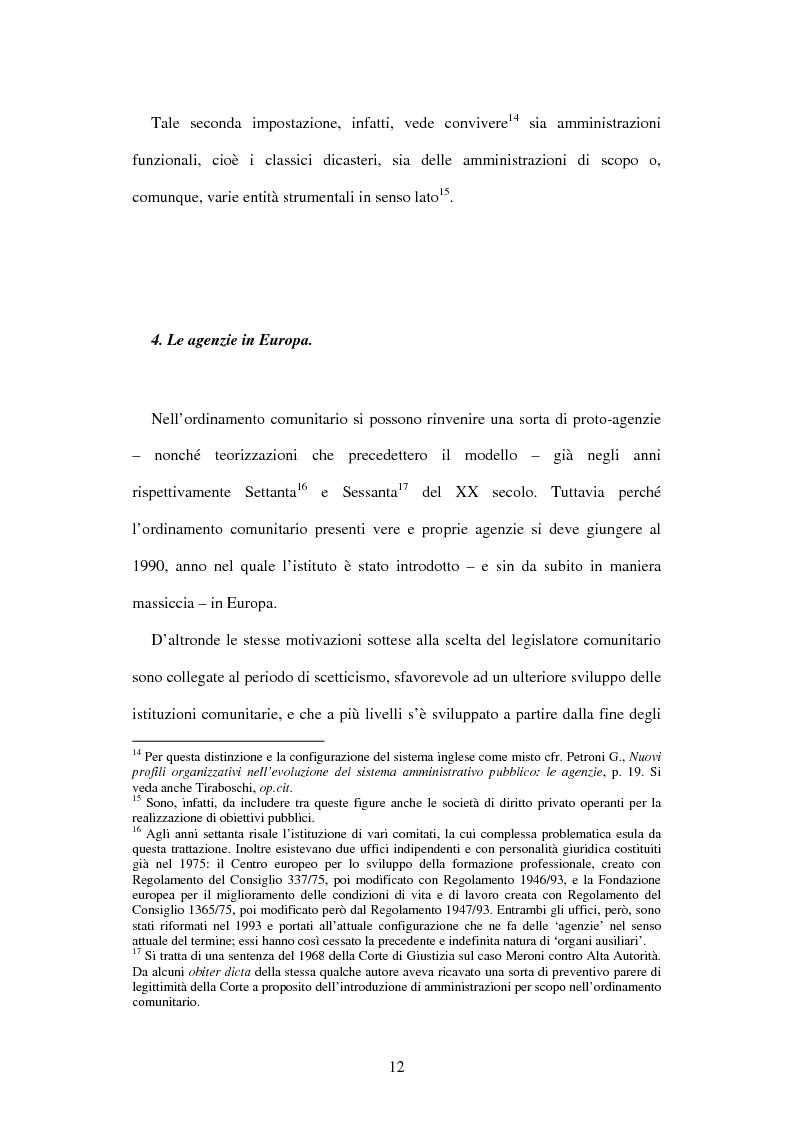 Anteprima della tesi: Le agenzie amministrative europee e nazionali: un fenomeno di strumentalità nell'organizzazione dei pubblici poteri, Pagina 10