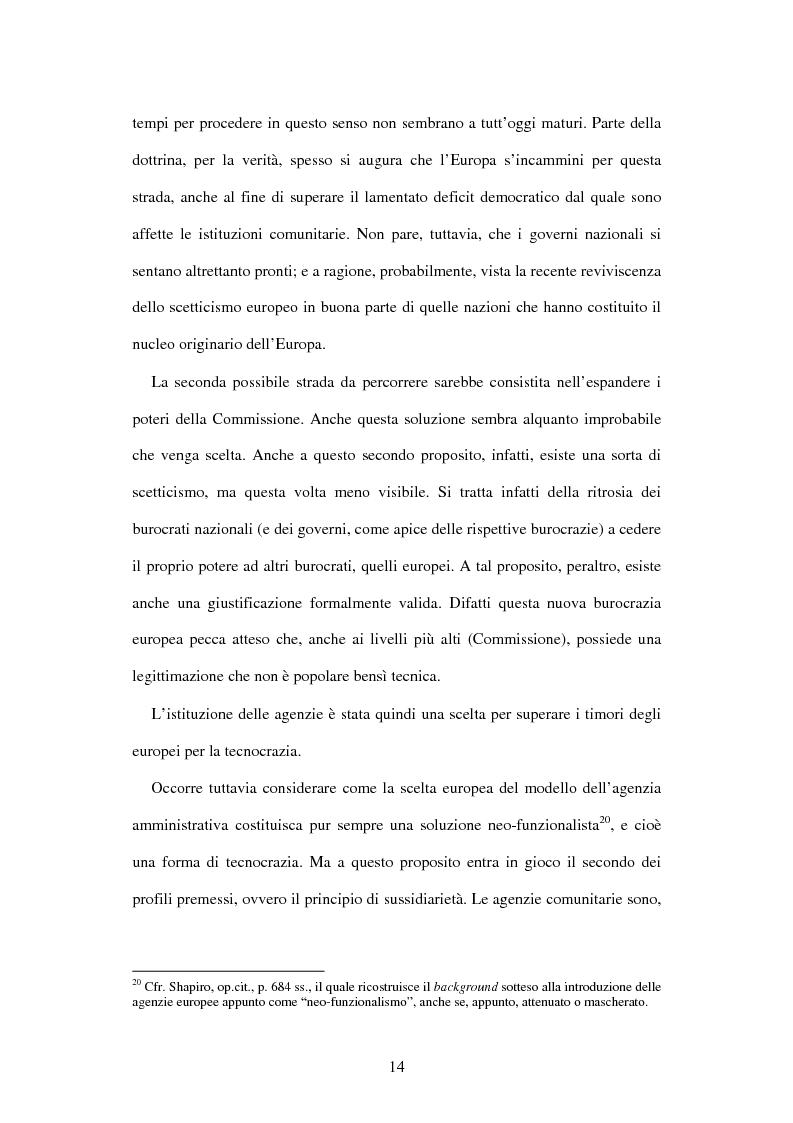 Anteprima della tesi: Le agenzie amministrative europee e nazionali: un fenomeno di strumentalità nell'organizzazione dei pubblici poteri, Pagina 12
