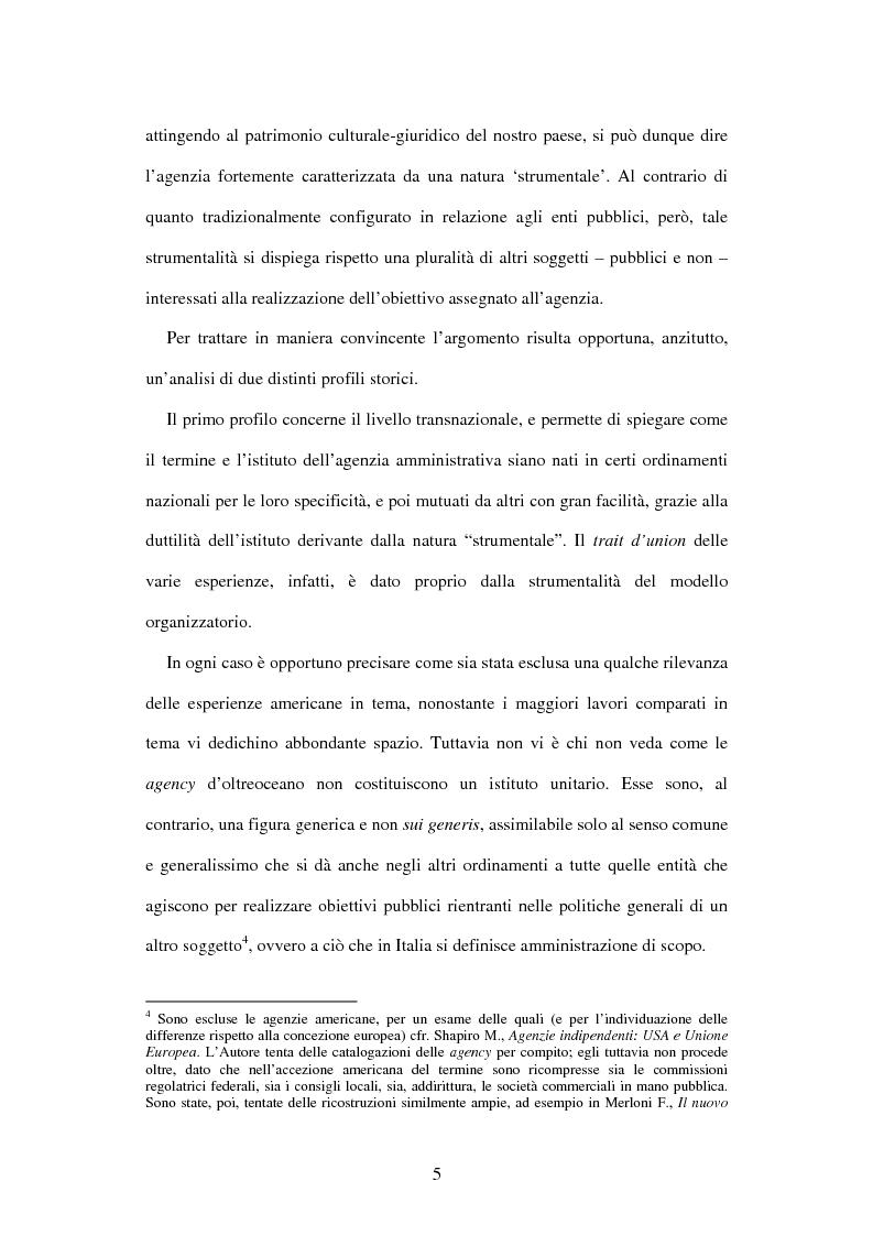 Anteprima della tesi: Le agenzie amministrative europee e nazionali: un fenomeno di strumentalità nell'organizzazione dei pubblici poteri, Pagina 3