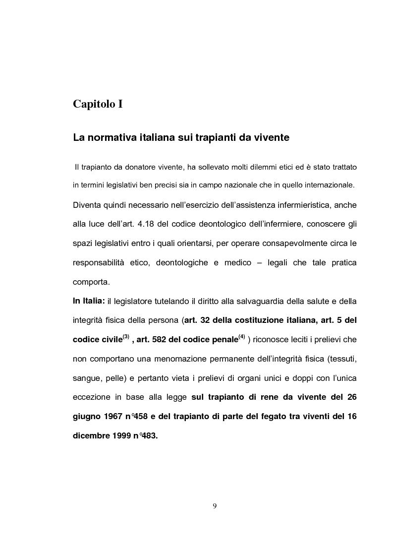 Anteprima della tesi: La tutela del donatore vivente: il ruolo dell'infermiere, Pagina 6