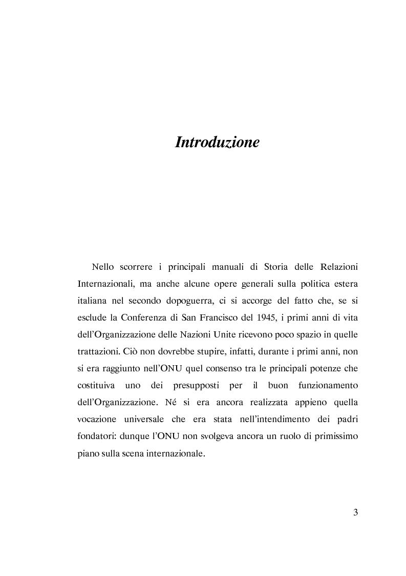 Anteprima della tesi: L'ammissione dell'Italia alle Nazioni Unite (ONU) 1945-1955, Pagina 1