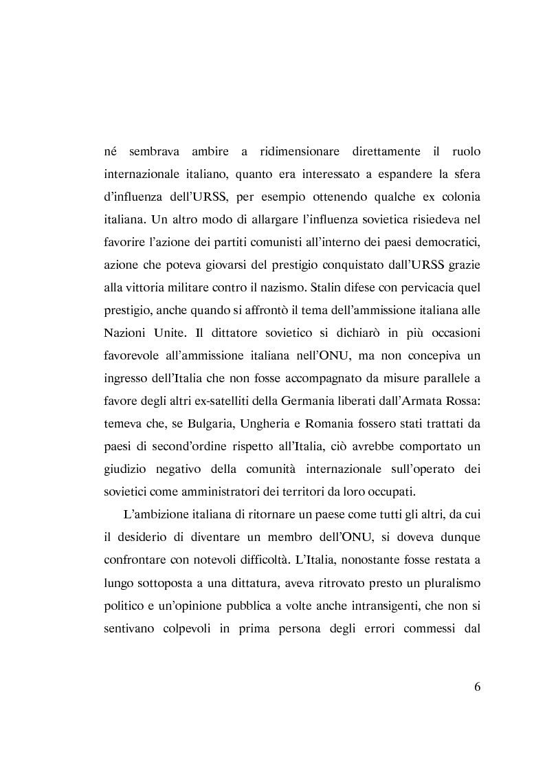 Anteprima della tesi: L'ammissione dell'Italia alle Nazioni Unite (ONU) 1945-1955, Pagina 4