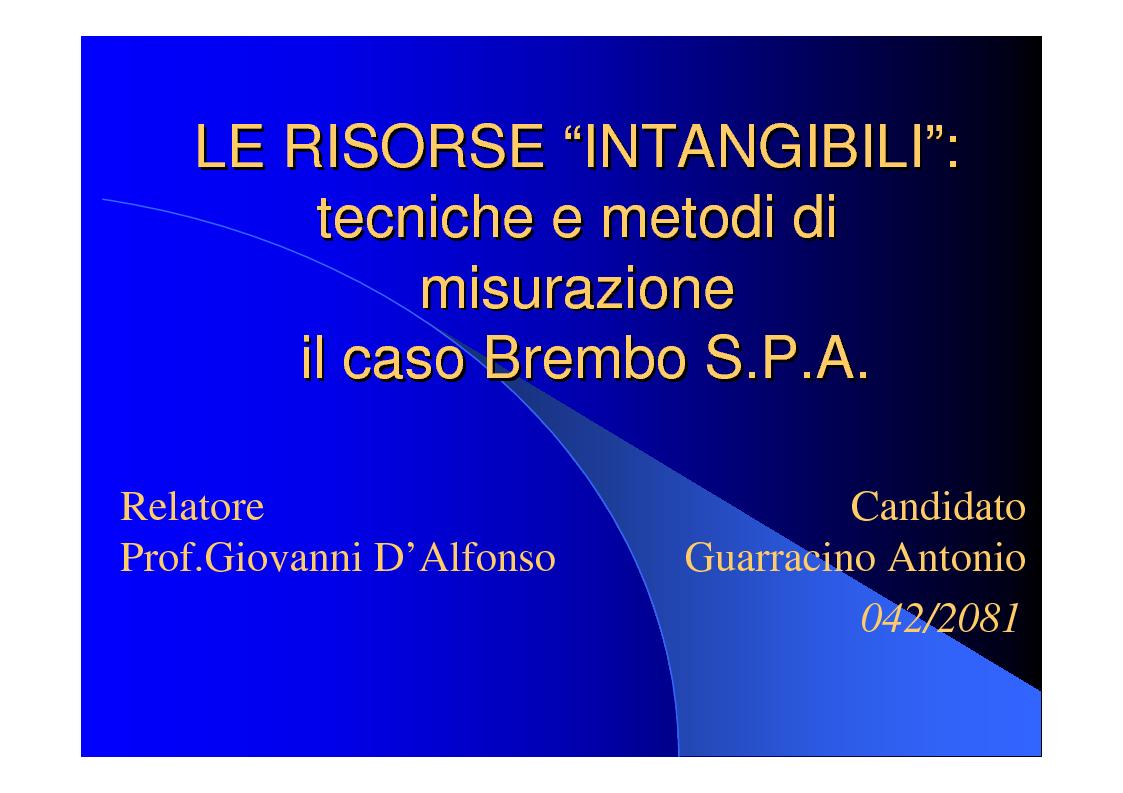 Anteprima della tesi: Le risorse intangibili: tecniche e metodi di valutazione, il caso Brembo S.p.A., Pagina 1