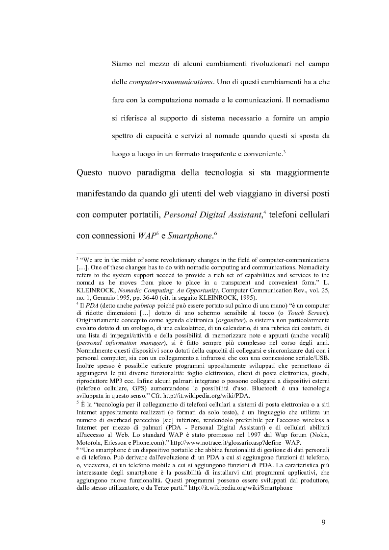 Anteprima della tesi: Internet e la computazione nomade: Opportunità e rischi, Pagina 5