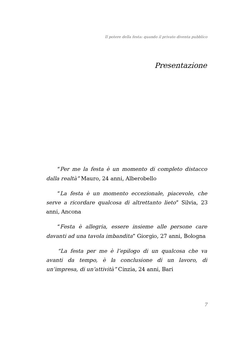 Anteprima della tesi: Il potere della festa: quando il privato diventa pubblico, Pagina 1