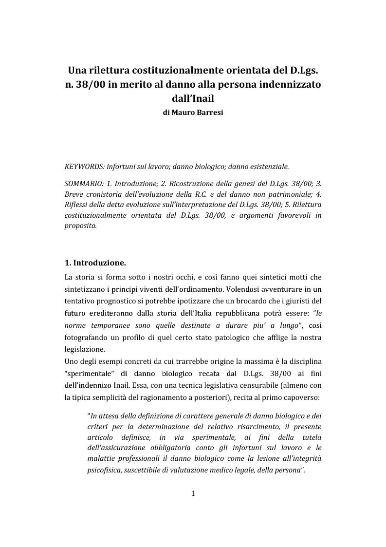 Anteprima della tesi: Una rilettura costituzionalmente orientata del D.Lgs. n. 38/00 in merito al danno alla persona indennizzato dall'Inail, Pagina 1