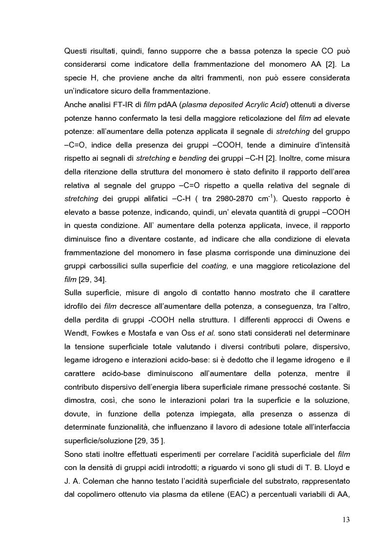 Anteprima della tesi: Deposizione via plasma di film sottili con proprietà acido-base variabili, Pagina 10