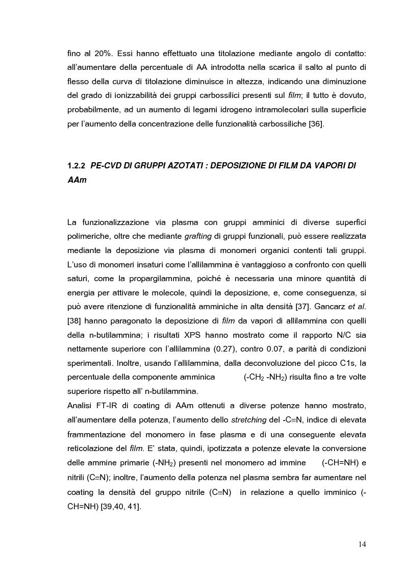 Anteprima della tesi: Deposizione via plasma di film sottili con proprietà acido-base variabili, Pagina 11